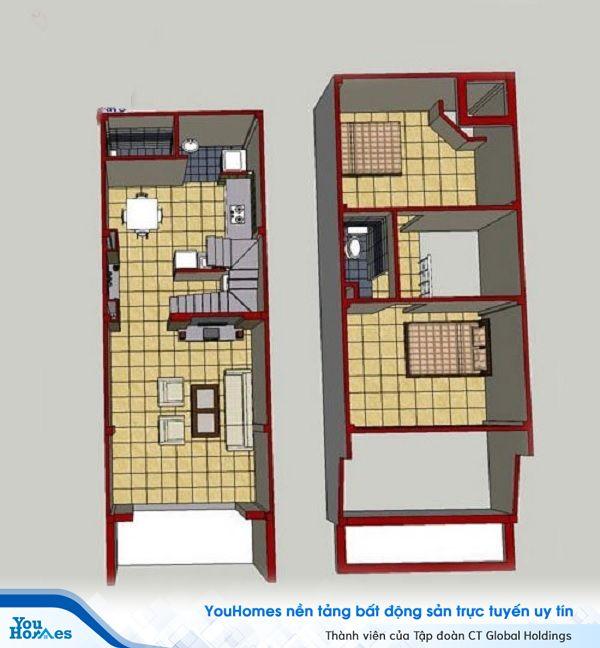 Bản vẽ thiết kế ngôi nhà cấp 4 có gác lửng.