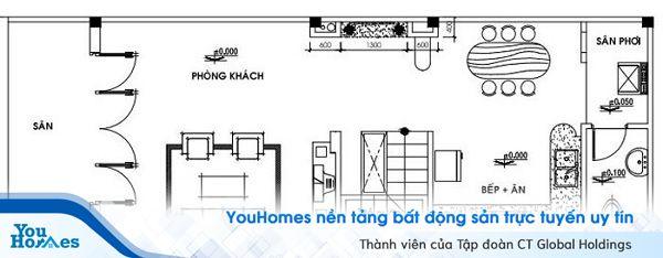 Bản vẽ thiết kế tầng trệt của ngôi nhà cấp 4 có gác lửng.