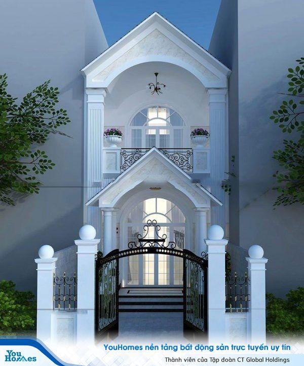 Mẫu nhà ống 2 tầng mái thái tân cổ điển màu trắng nhẹ nhàng.