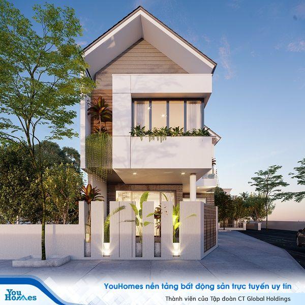 Ngôi nhà 2 tầng mái thái hiện đại mang phong cách thiết lế đặc biệt kết hợp với nhiều không gian cho cây xanh.