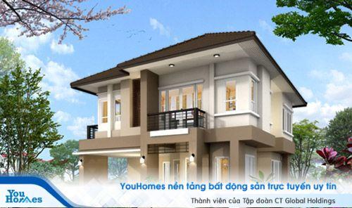 Nhà 2 tầng mái thái đẹp với tông màu nâu ấm áp.