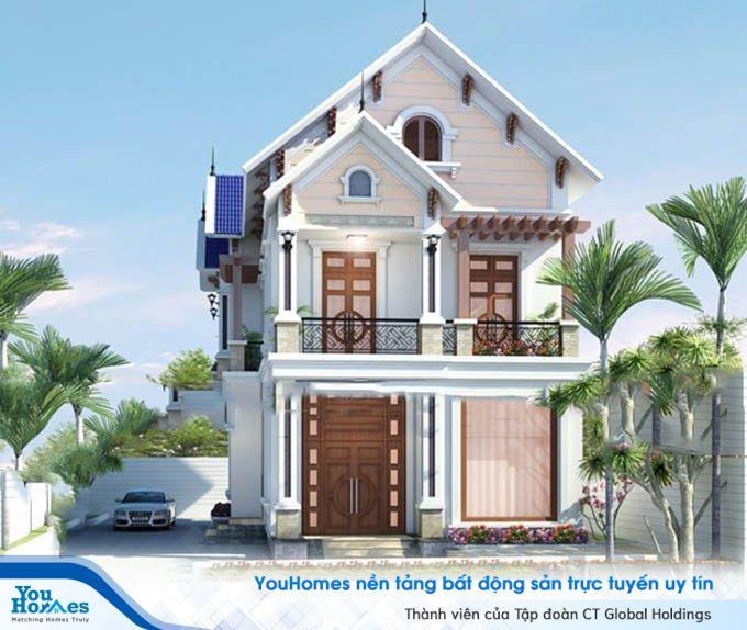 Mẫu nhà mái thái 2 tầng với phong cách kết hợp giữa cổ điển và hiện đại.