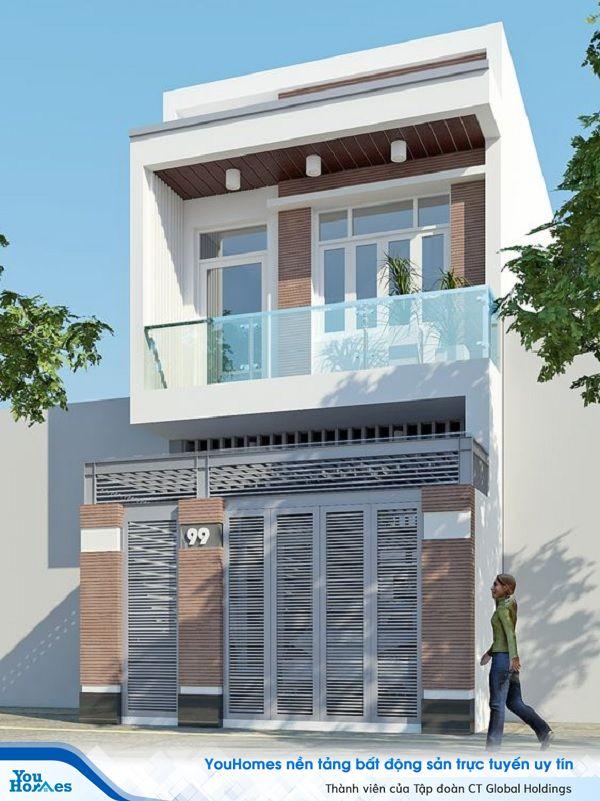 Mẫu nhà 2 tầng với tông màu trắng tươi sáng.