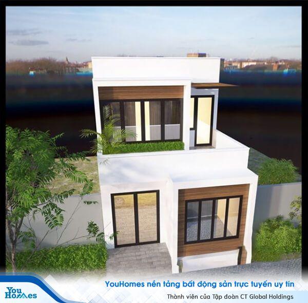 Mẫu nhà 2 tầng mặt tiền 6m thiết kế mái bằng đơn giản.