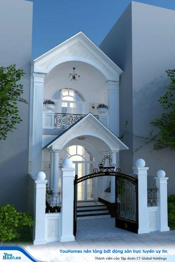 Mẫu nhà 2 tầng mặt tiền 6m thiết kế theo phong cách tân cổ điển hiện đại.