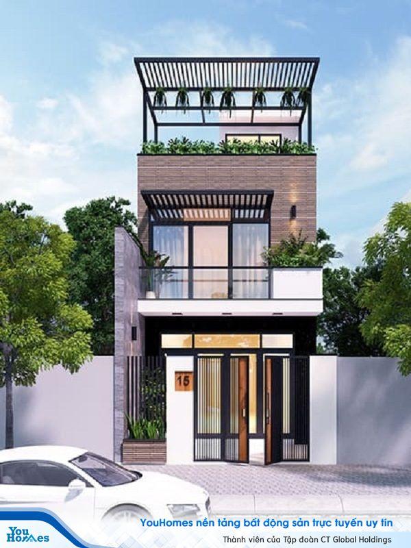 Mẫu nhà 2 tầng mặt tiền 6m sử dụng màu trung tính làm màu chủ đạo mang đến nét đẹp trang nhã.