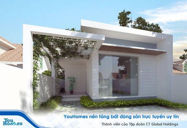 Mẫu nhà cấp 4 3 phòng ngủ được thiết kế màu trắng nhẹ nhàng, tinh tế cùng với hành lang nhỏ trồng những cây leo tạo bóng mát cho ngôi nhà.