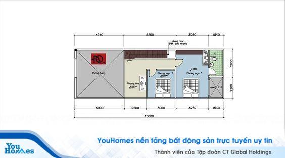 Bản thiết kế mặt bằng nội thất tầng lửng của nhà ống cấp 4 5x15 có gác lửng.