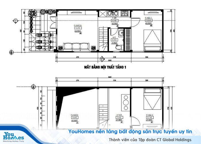 Thiết kế mặt bằng nội thất nhà ống cấp 4 5x15 có gác lửng.