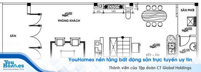 Thiết kế mặt bằng tầng 1 của nhà ống cấp 4 5x15 có gác lửng.