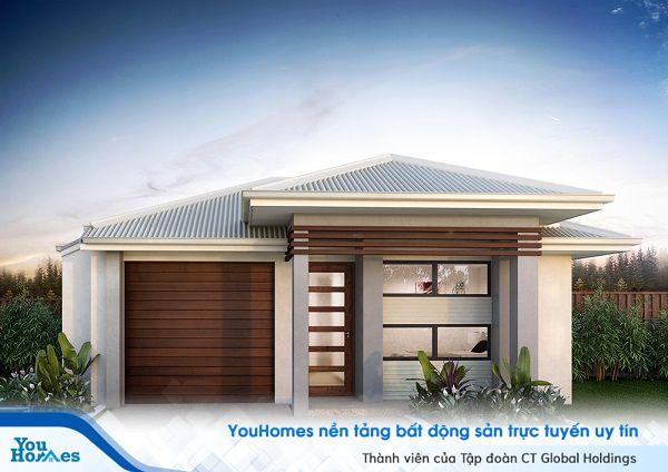 Nhà cấp 4 100 m2 với thiết kế độc đáo cùng các chi tiết trang trí bằng gỗ.