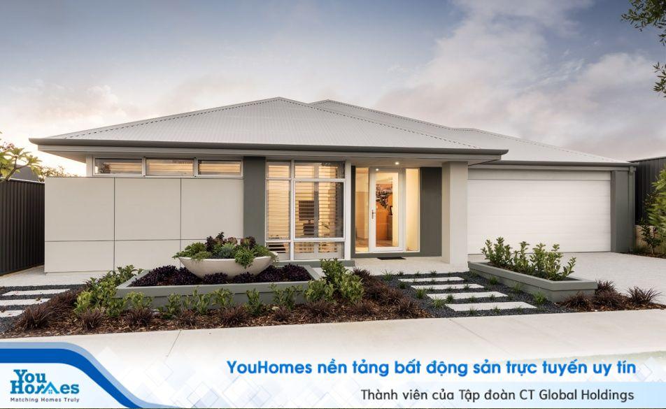 Màu nhà cấp 4 100 m2 với tông màu tinh tế cùng sân vườn cực đẹp.