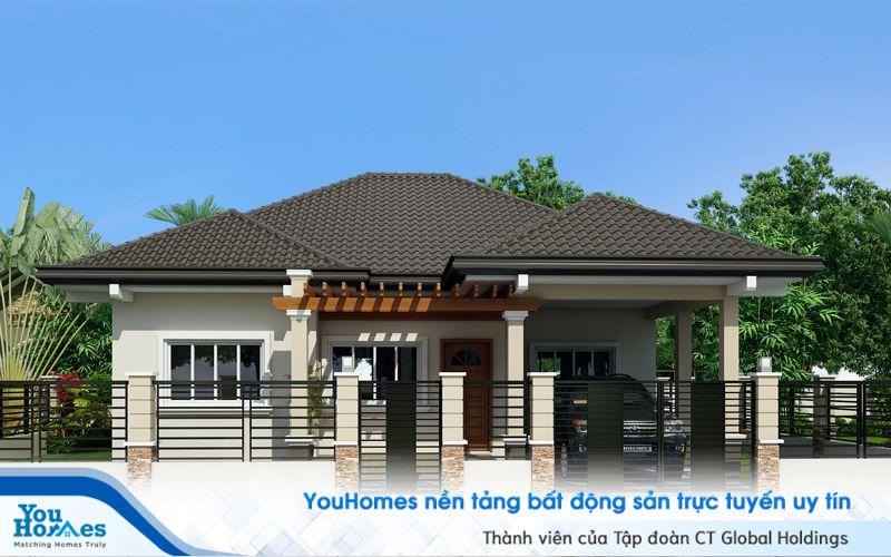 Mẫu nhà cấp 4 100 m2 với hàng rào kiên cố.