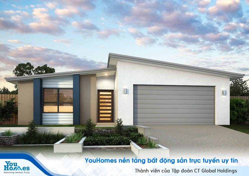 Mẫu mái bất đối xứng có thể nói là một sự lựa chọn hoàn hảo cho mẫu nhà cấp 4 100 m2.