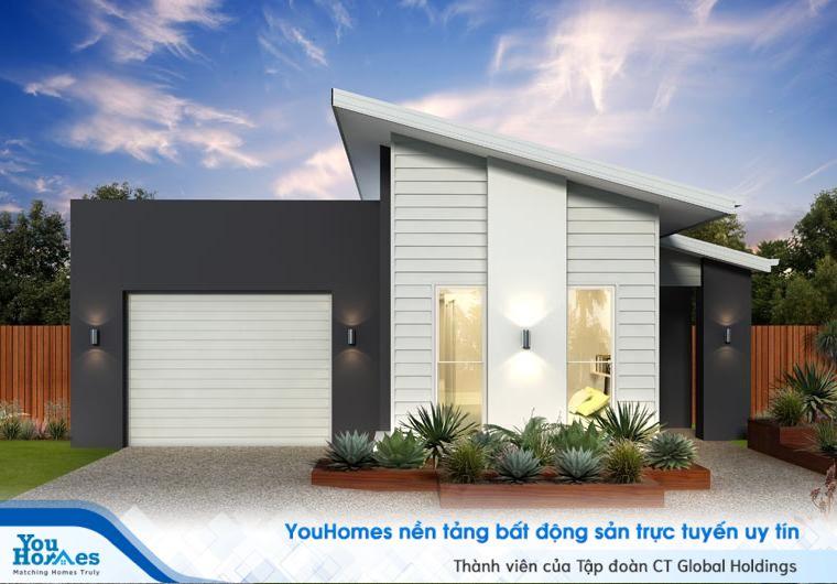 Nhà cấp 4 đẹp 100 m2 mái xéo độc đáo với tông màu trắng và xám tro nổi bật.