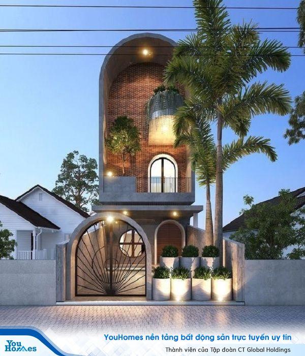 Mẫu nhà ống 3 tầng thiết kế nhà mái vòm độc đáo.