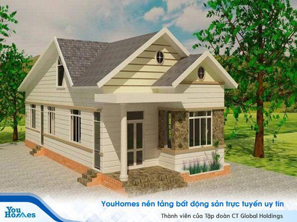 Hình thái đơn giản giúp ngôi nhà cấp 4 mái thái trở nên gọn gàng và tinh tế.