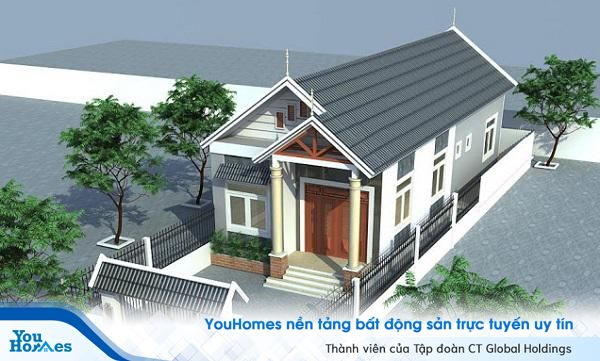 Mẫu nhà cấp 4 mái thái được xây dựng theo hình ống với thiết kế hợp lý và phần hàng rào chắc chắn bao quanh nhà.